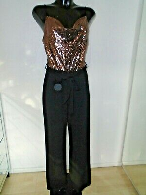 New Look Black Sequin 2 In 1 Wide Leg Jumpsuit Cowl Neck Size UK 12 New Tags