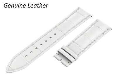 Genuine Leather WHITE Strap Fits SEIKO Watch Band For Buckle Clasp 12-24 Mens