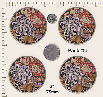 Ceramic decals CIRCULAR Floral Coasters Rust /white VARIATIONS Waterslide  PD838