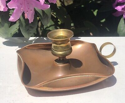 Antique Arts & Crafts Brass Copper Candle Stick Candle Holder Drip Tray Base