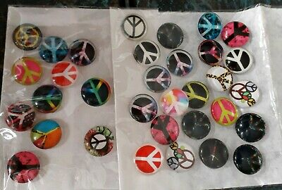 33 Acrylic PEACE CABOCHONS EMBELLISHMENTS, Cards, Scrapbooking BARGAIN 11mm