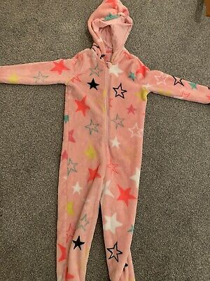 Girls Marks And Spencer Pink Star Fleece All In One Pyjamas Age 5-6