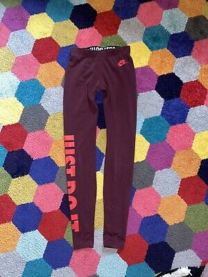 ⭐️ Burgondy Maroon NIKE Just Do It Leggins XS 6 8 Girls Gym Running Sports Wear