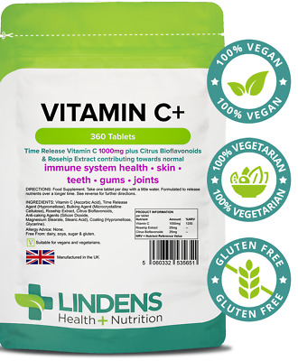 Vitamin C+ 1000mg (Time Release) 360 Tablets Lindens Health + Nutrition (5651)