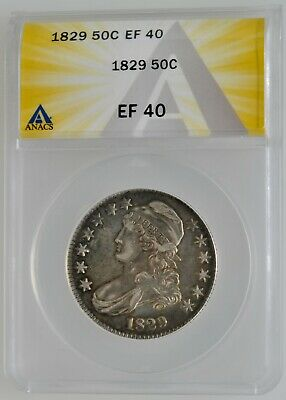 ANACS 1829 Capped Bust Half Dollar EF 40 Investment Grade Coin