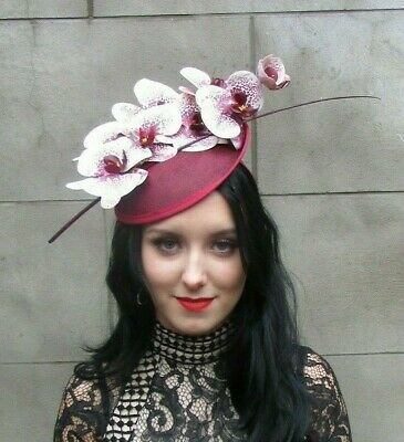 Burgundy Wine Red White Orchid Feather Flower Saucer Disc Hat Fascinator 8069