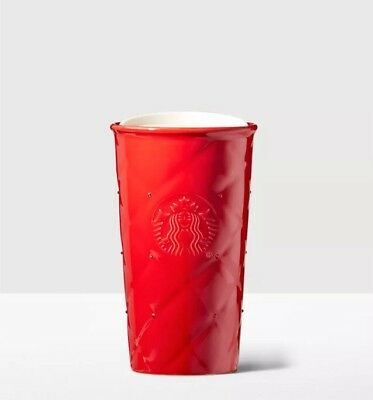 Starbucks Double Wall Traveler Tumbler Mug Red w/ Swarovski Crystals Christmas
