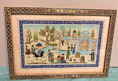 Middle Eastern/Persian Painting on bakelite with Mosaic Wood Frame