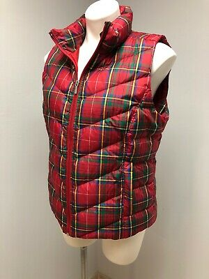 LANDS' END  Red Plaid Down Puffer Vest Womens Medium 10-12 Water Resistant