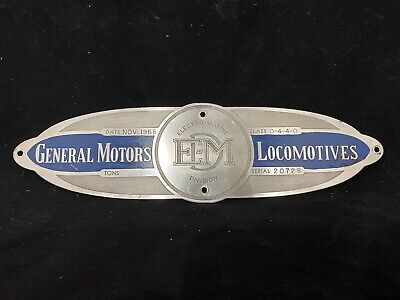 Vintage General Motors Electro-Motive Division EMD Locomotives 1955 Emblem plate