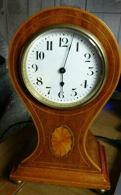 Superb Antique balloon mantel clock satinwood inlay with marquetry fan. c1918