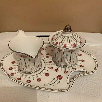 "4 Piece Fine Porcelain ""The Leonardo Collection"" Milk Jug. Sugar Bowl & Plate."
