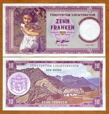 Liechtenstein 10 Francs 2019 Private issue Girl with a rabbit A00 00000 S/Ns
