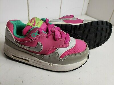 Nike Air Max 1 Td Trainers Size Uk 8.5 Eu 26 Kids Girls Hot Pink Leather Shoes