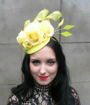 Yellow Floral Rose Flower Feather Pillbox Hat Fascinator Wedding Races Hair 8084