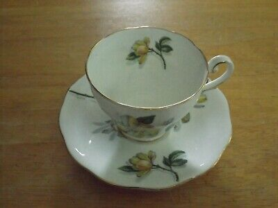 "Royal Standard English Bone China Cup & Saucer Set ""Camellia-Yellow"" Gold Trim"