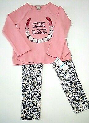 Lucky Brand 2 Piece Outfit Girls Size 5 Leggings Long Sleeve Thermal Top NWT