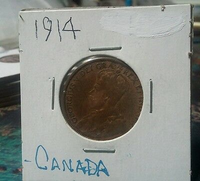 Very Nice 1914 copper Canada cent Bronze 25.5mm km#21 XF Look & bid buy it now!!