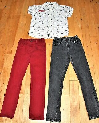 Jeans Slim Fit 2 Pairs Black/Red & 1 Smart Dress Shirt Bundle Teens 11-12yrs