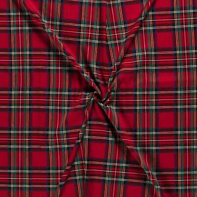 Scottish Tartan Check Fabric Material - RED