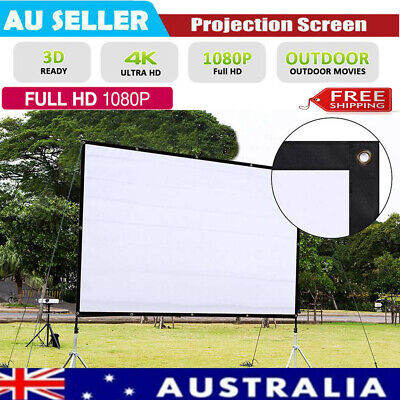 Portable Foldable Wall Projector Screen 16:9 HD Home Theater Outdoor 3D Movies