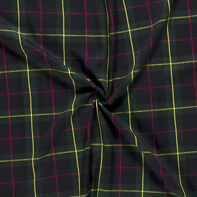 Scottish Tartan Check Fabric Material - RED BLUE GREEN