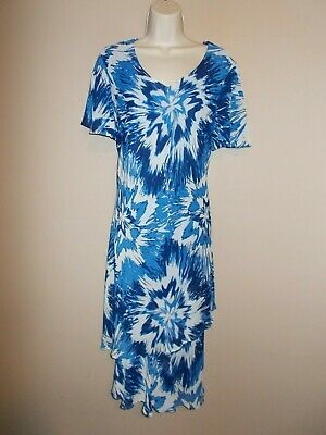 New RM Richards Womens Plus 14W Blue White Layered Sheath Dress Flutter Slv