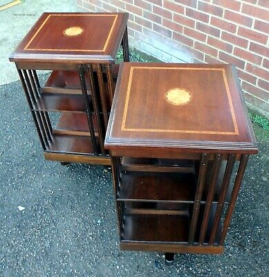 Pair mahogany inlaid Georgian antique style revolving library bookcases shelves