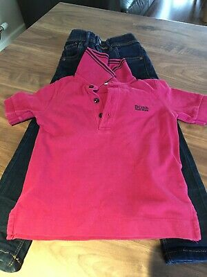 Bundle. Hugo Boss boys magenta polo age 5 & Next navy skinny jeans 4