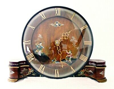 English Art Deco Chinoiserie Lacquer Mantel Clock, Wood, 8 Day, Working Well