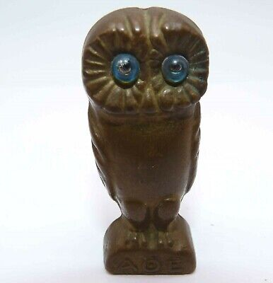 Vintage Solid Bronze Athena Owl Ornament, Ancient Greek Museum Replica Greece