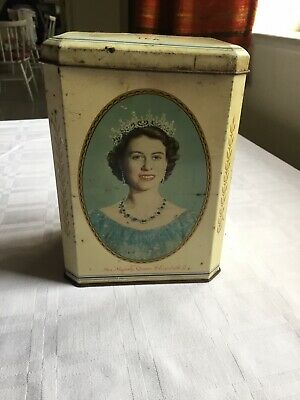 VERY OLD RARE COLLECTIBLE - QUEEN ELIZABETH II TEA CADDY 1953 HRH The Duke Of Ed