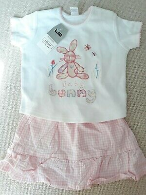 Next Girls 3-6 m 6-9 Skirt + T-Shirt Outfit embroidered pink gingham BNWT bunny