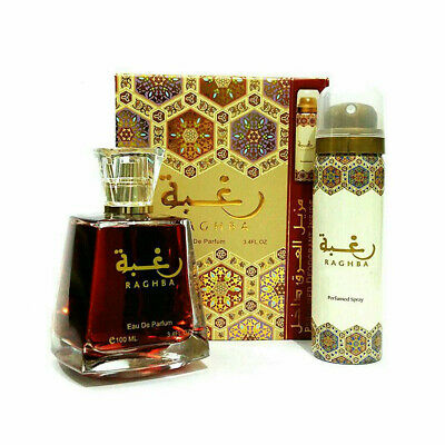 Lattafa Unisex Raghba Arabian EDP Unisex 100ml Perfume Attar Spray Deodorant Set