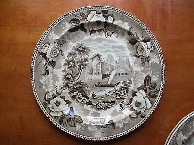 3 Wedgwood Brown Transfer Creamware Plates - Early 1800's