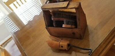 Vintage Shoe Shine Kit Horse Hair Brushes Leather Shoe Stretcher