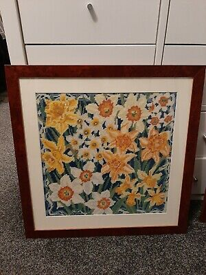 Primavera Narcissi and Daffodils by Joanna Allen completed tapestry framed