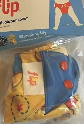 Flip by BumGenius Spence Pirate Print OS Cloth Diaper Cover Snap NWT NIP 8-35 lb