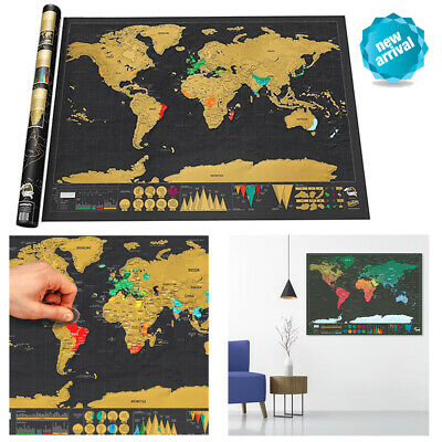 Deluxe Large Scratch Off World Map USA Travel Poster Away Home Decor Gift New