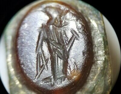 Ancient Roman Bronze SIGNET/SEAL Ring, Robed Figure Engraved Carnelian, (#20c)