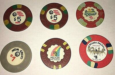 Lot Of Vintage Casino Chips Mgm Dunes Caesars Palace Hilton Las Vegas