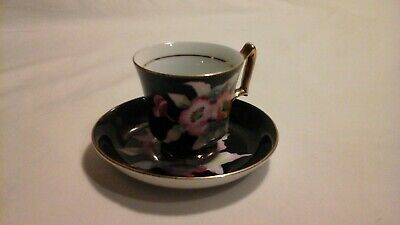 Vintage Hand Painted Gold Trim Demitasse Teacup And Saucer Made Occupied Japan
