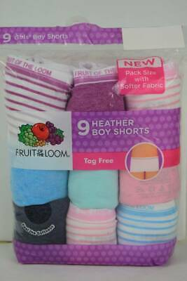 NEW 9 Pack Girls Boy Shorts Panties Size 10 Tagless Underwear Fruit of the Loom