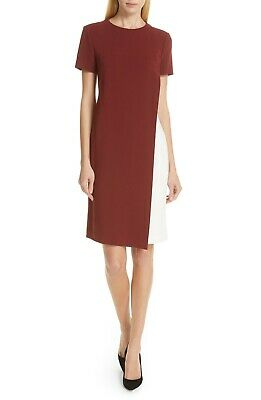 NEW Hugo BOSS Dark Auburn Red Ivory Dularis Colorblock Side Pocket Shift Dress 6