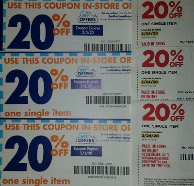 Bed, Bath, & Beyond Coupons 6 20% off exp February 2020 in store or online