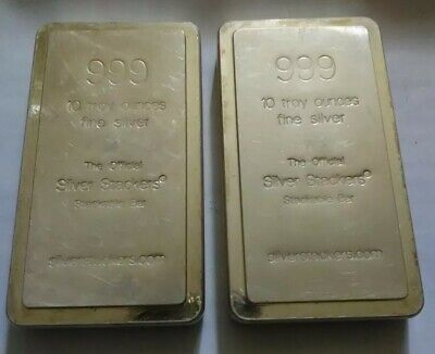 10 oz 999 Troy Oz Silver Stackable Bars Stackers Free post