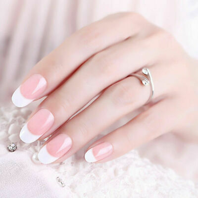Full Cover French Manique Nails 24Pcs Artificial Fake Nails Short Natural Tips W