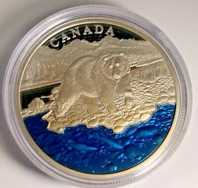 2017 Pure Silver Grizzly Bear with Blue Enamel MASTERS CLUB 1 oz Coin #4