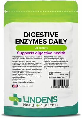 Digestive Enzymes Daily 90 Tablets Lindens Health + Nutrition Ltd (4135)