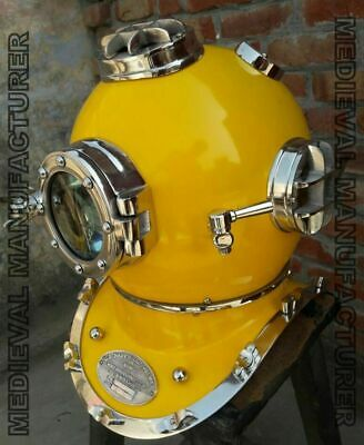 "Reproduction Mark V US Navy Divers Helmet Full Size 18/"" ~ Marine In Yellow Gift"